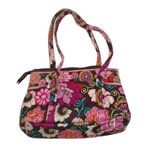 Vera Bradley Pink Floral Brown Shoulder Purse EUC